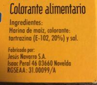 Colorante alimentario - Ingrédients - es