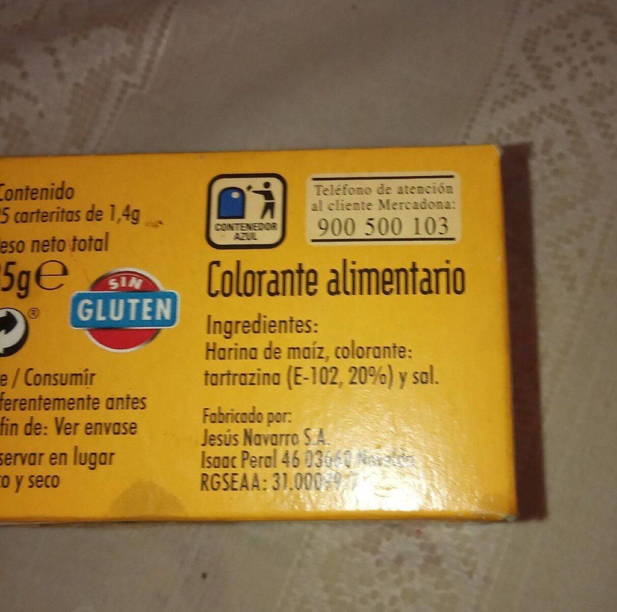 Colorante alimentario - Informations nutritionnelles - es