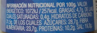Espaguetti Sazonador - Información nutricional