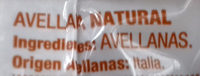 Avellana natural - Ingredientes - es