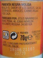 Pimienta Negra - Informations nutritionnelles