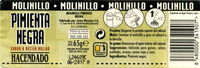 Pimienta negra en grano molinillo - Nutrition facts
