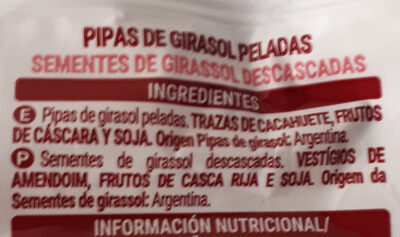 Pipas girasol naturales - Ingrédients - es