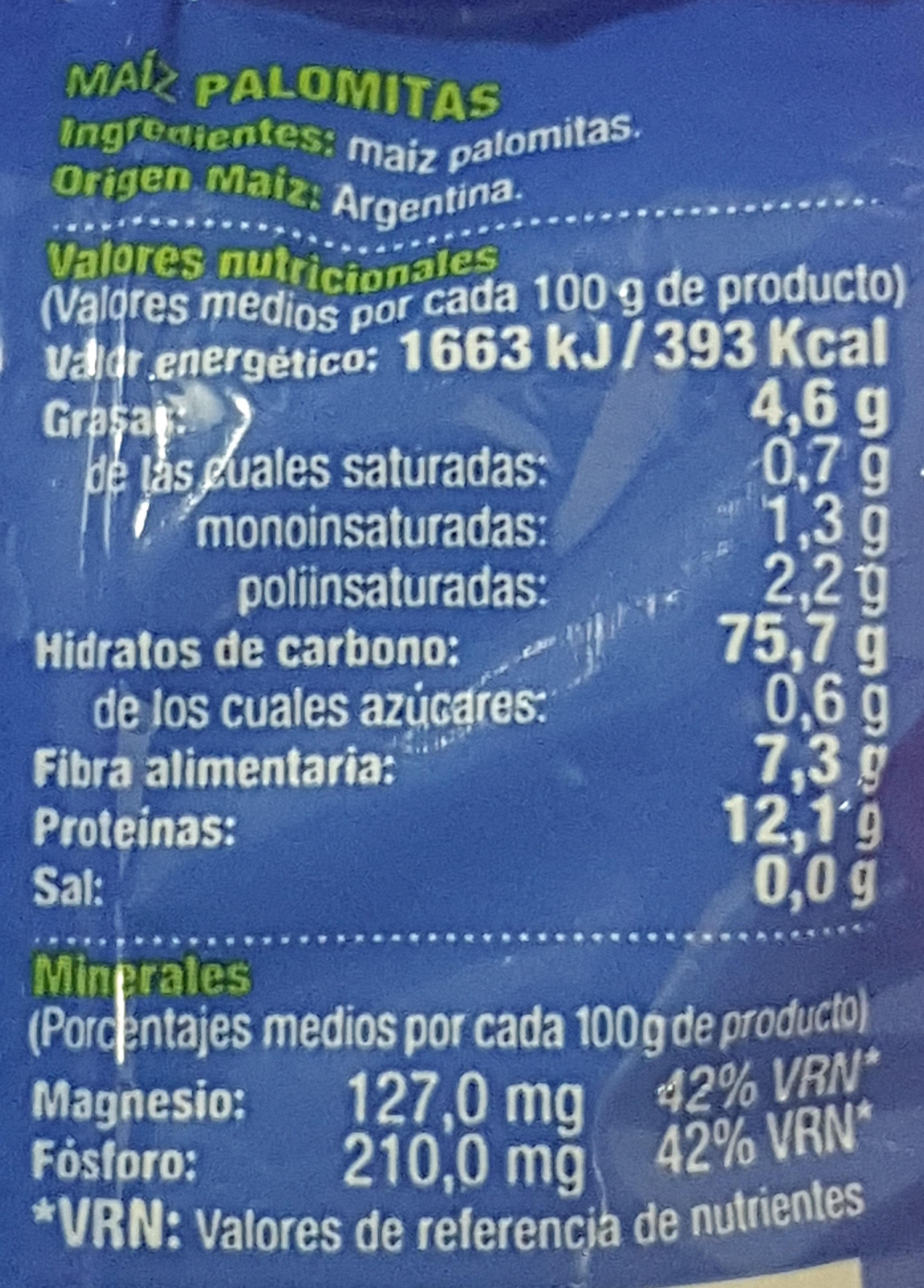 Maíz palomitas - Información nutricional