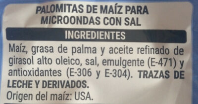 Palomitas Microondas - Ingredientes