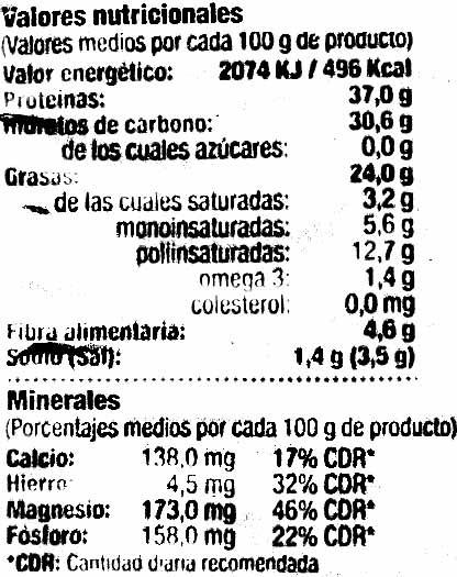 Soja frita - Voedingswaarden - es