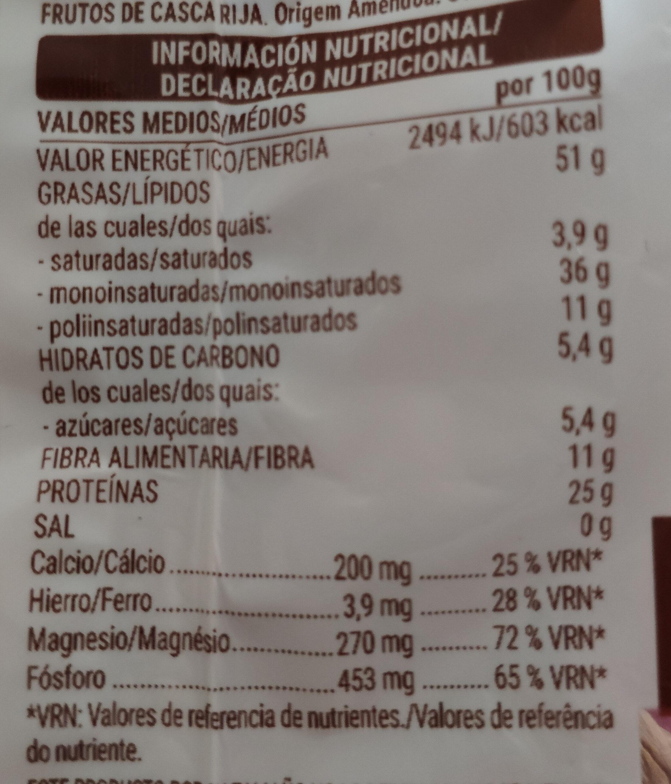 Almendra natural - Información nutricional - es