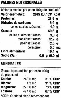 Almendras crudas con piel - Información nutricional