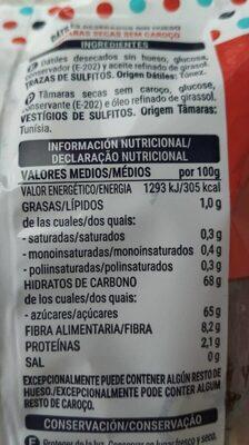 Dátiles sin hueso - Información nutricional
