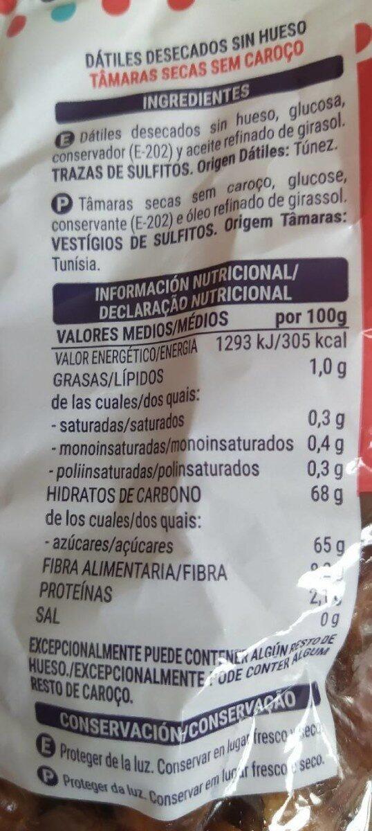 Dátiles - Informations nutritionnelles - es