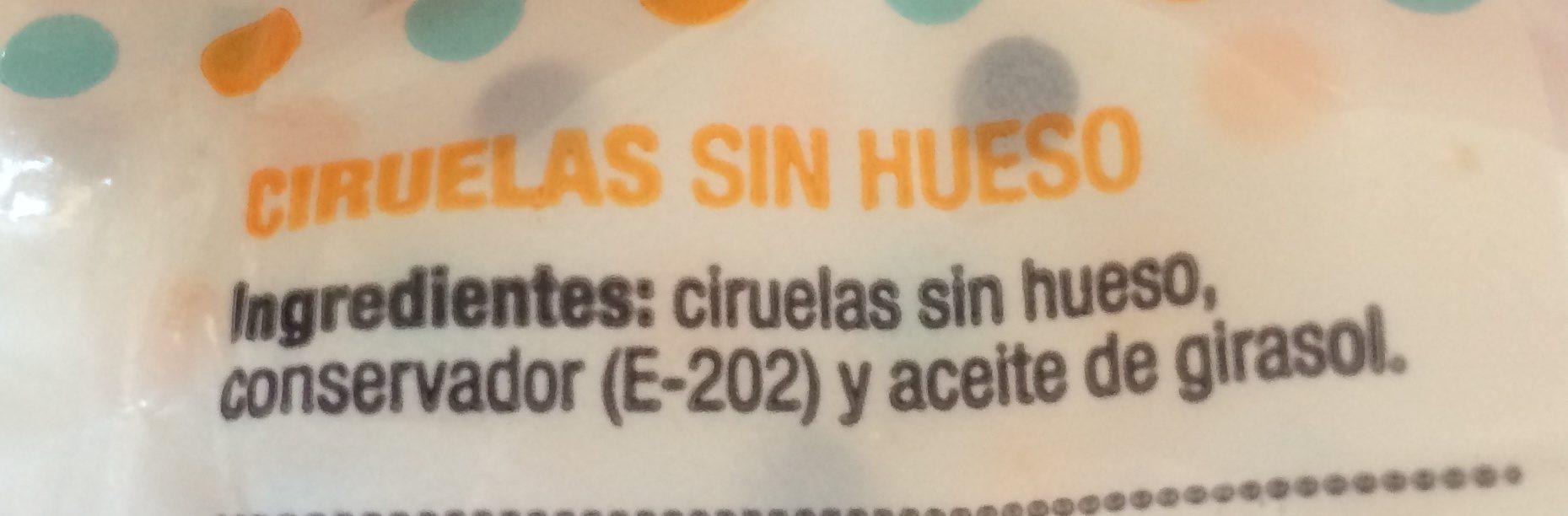 Ciruelas Desecadas Sin Hueso - Ingrediënten