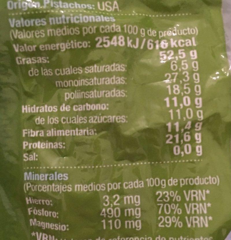 Pistacho tostado sin sal - Nutrition facts - es