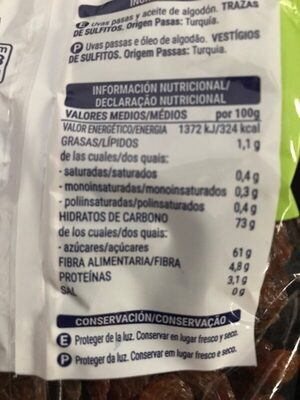Pasas Sultanas - Nutrition facts