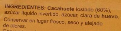Turrón de cacahuete blando - Ingredientes - es