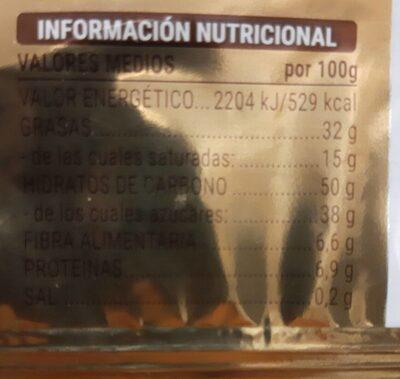 Turron de chocolate negro crujiente - Valori nutrizionali - es