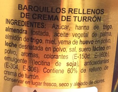 Hac.Barquillos Turrón - Ingredients