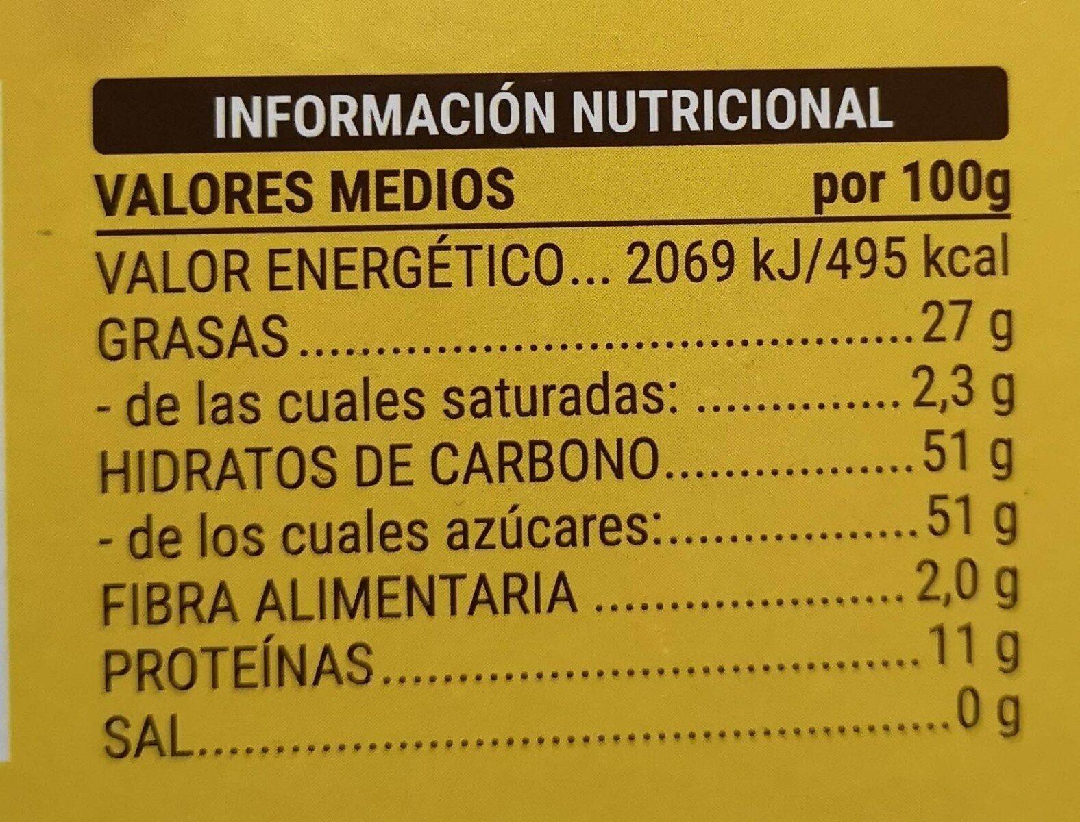 Turron de yema tostada - Información nutricional - es