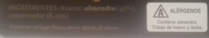 Pasta de Almendra - Ingredientes - es