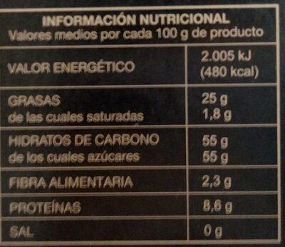 Pasta de Almendra - Información nutricional - es