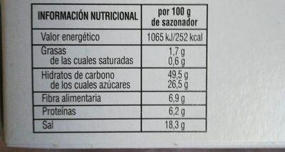 Sazonador Para Hornear A Las Hierbas Provenzales - Informació nutricional - es