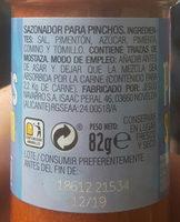 Sazonador pinchos - Ingredients - es