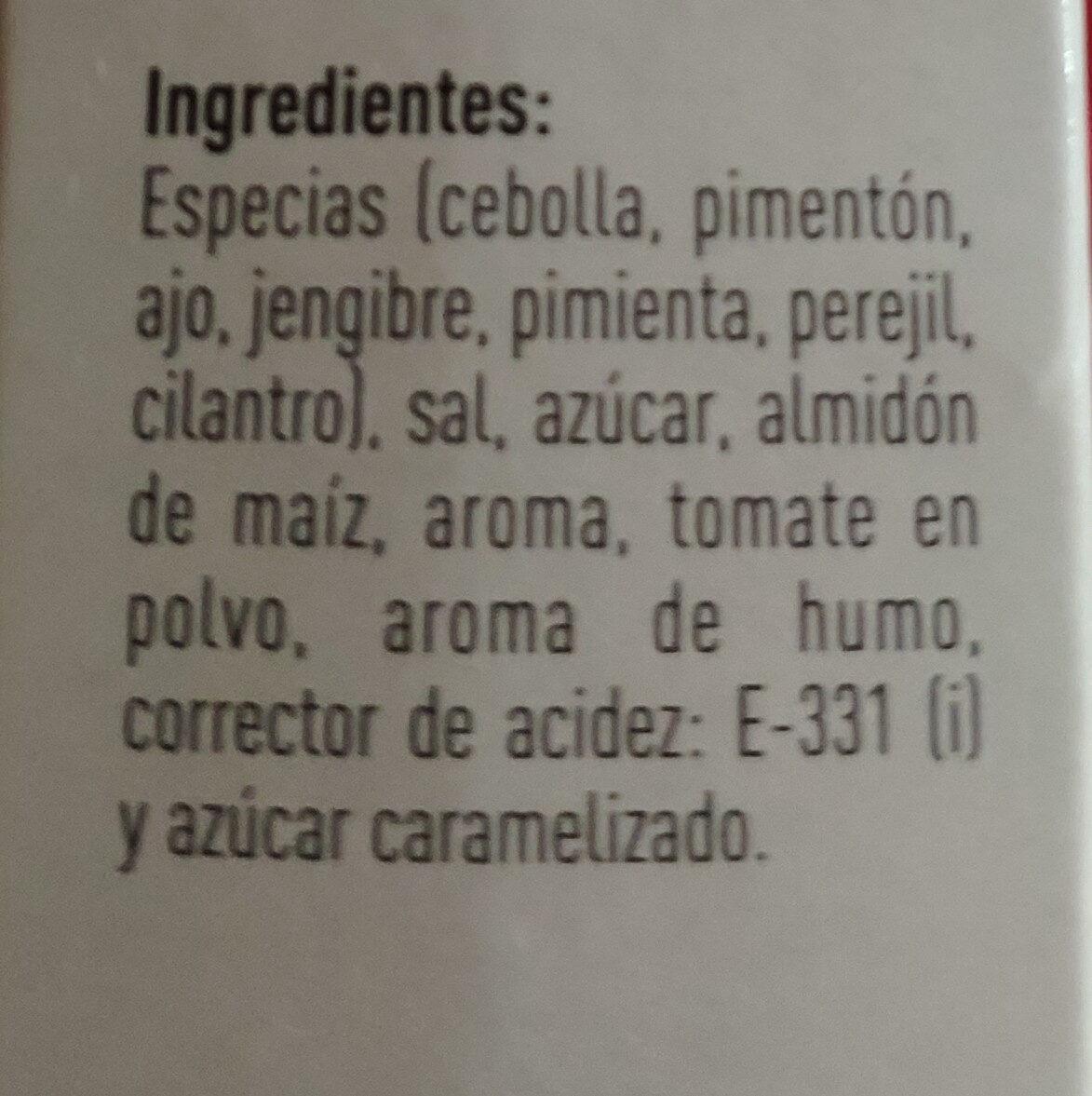Sazonador Para Hornear Sabor Barbacoa - Ingredientes - es
