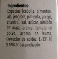 Sazonador BBQ - Ingredients - es