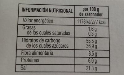 Sazonador Para Hornear Sabor Barbacoa - Informació nutricional - es