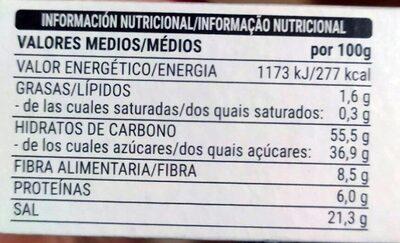 Sazonador BBQ - Informació nutricional - es