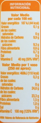 Zumo 100% Natural 100% Exprimido - Información nutricional