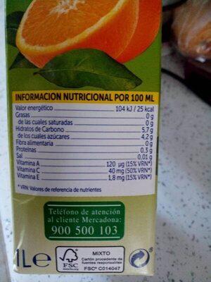 Zumo de naranja sin azucares - Información nutricional - es