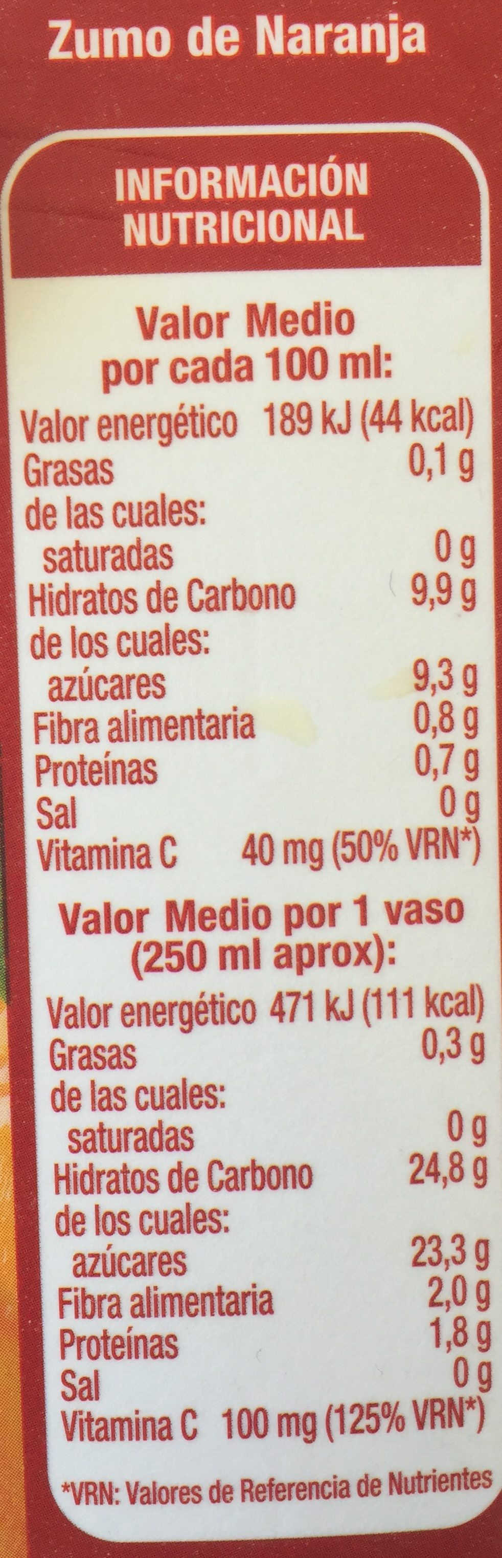 Zumo pura naranja con pulpa - Ingredientes