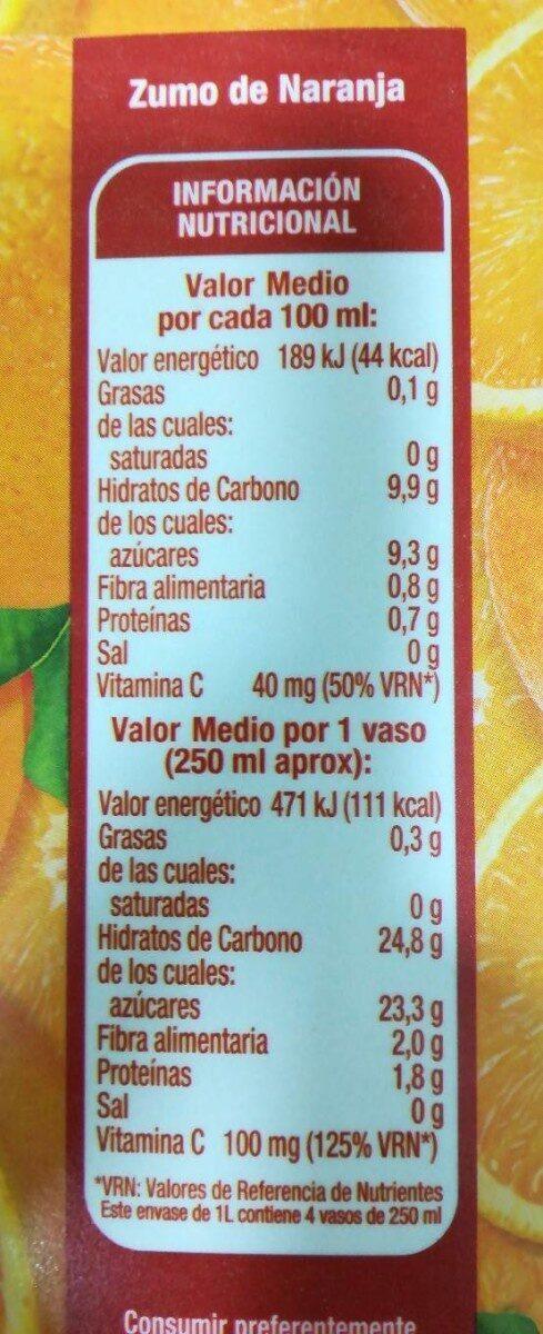 Zumo pura naranja con pulpa - Información nutricional