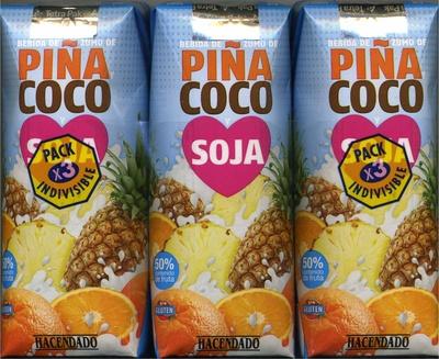 """Bebida de zumo y soja """"Hacendado"""" Piña y coco. Pack de 3"""