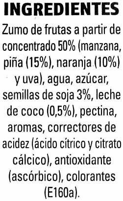 Piña coco soja - Ingredientes - es