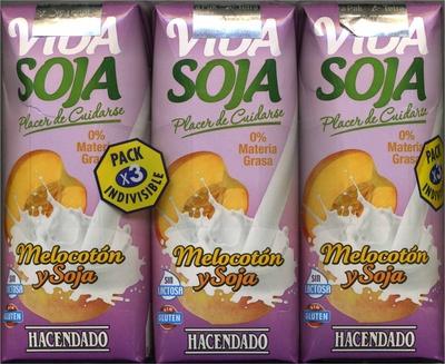 """Bebida de zumo y soja """"Hacendado"""" Melocotón. Pack de 3"""