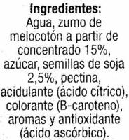"""Bebida de zumo y soja """"Hacendado"""" Melocotón. Pack de 3 - Ingredientes"""