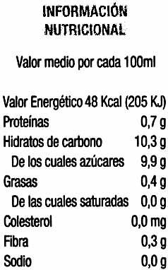 """Bebida de zumo y soja """"Hacendado"""" Melocotón. Pack de 3 - Información nutricional"""