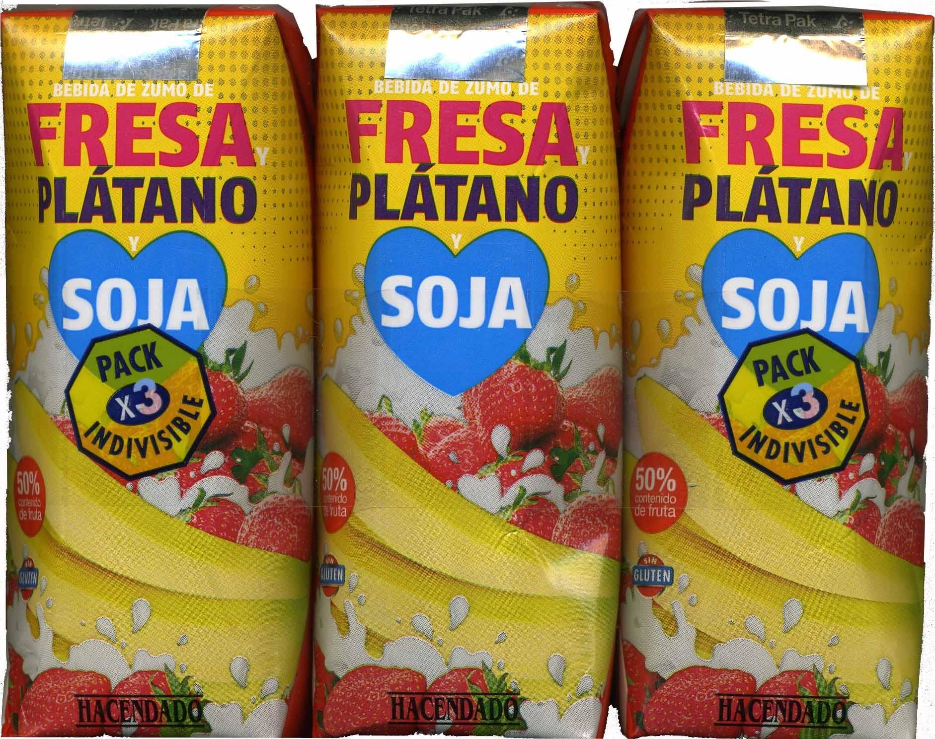 Bebida de zumo de fresa pl tano soja pack de 3 - Como hacer zumo de fresa ...
