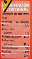 Bebida de soja fresa platano - Información nutricional - es