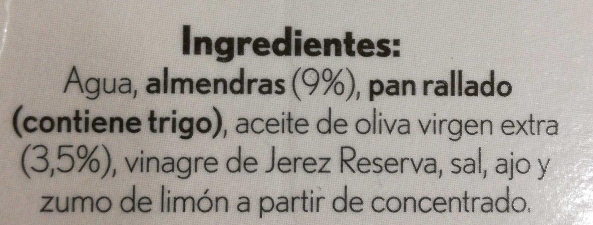 Gazpacho blanco de almendras - Ingredientes - es