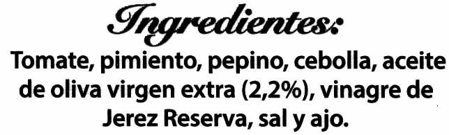 Gazpacho Tradicional - Pack de 2 - Ingredientes