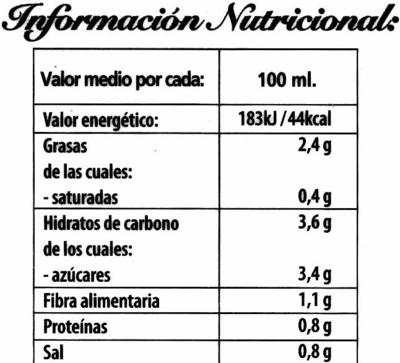 Gazpacho Tradicional - Pack de 2 - Información nutricional