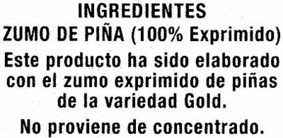 Zumo de piña exprimido refrigerado - Ingredients - es