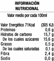Bebe fruta 100% granada - Información nutricional - es