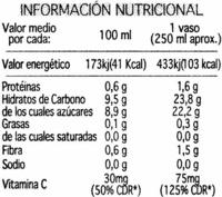 Zumo de naranja 100% exprimido - Informació nutricional