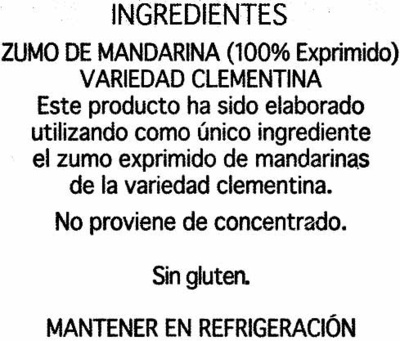 Zumo De Clementina - Ingredients - es