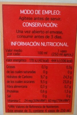 Zumo De Clementina - Nutrition facts - es