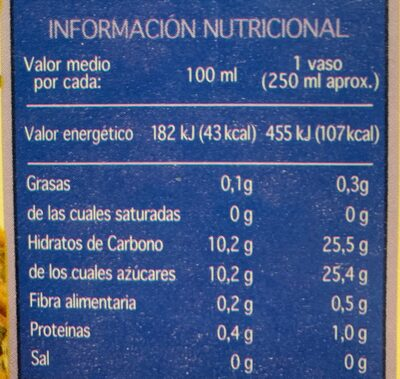 Zumo de piña - Informació nutricional