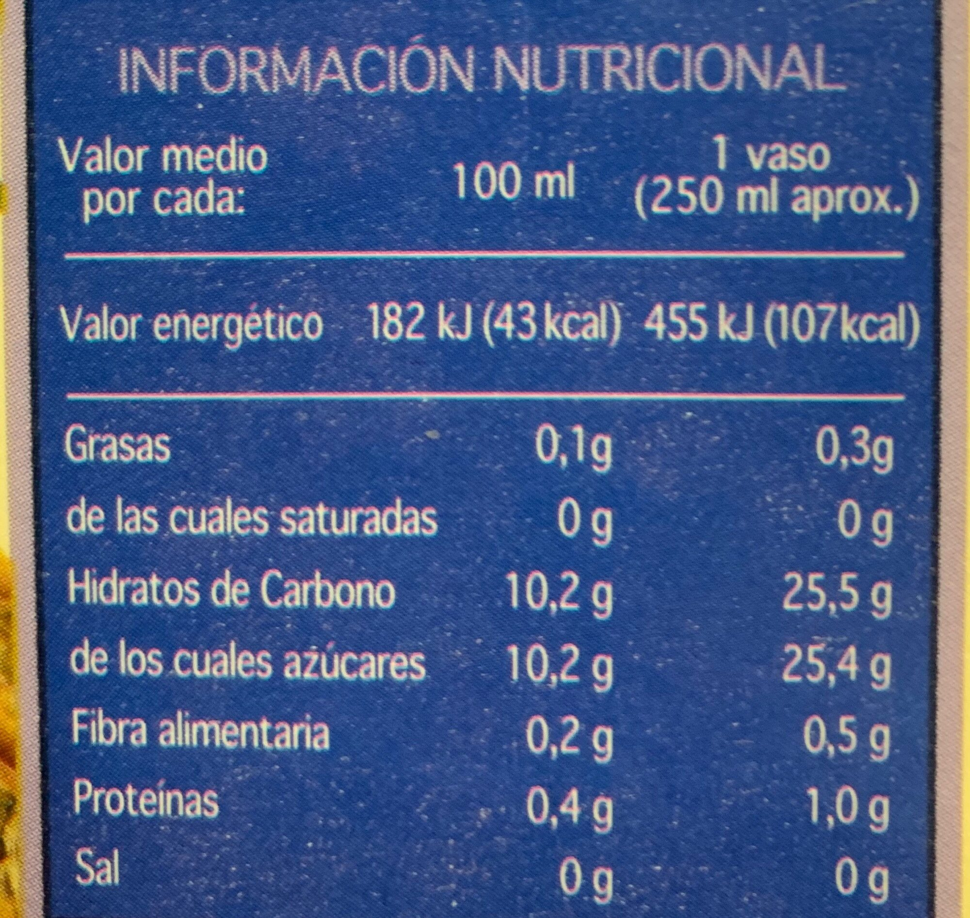 Zumo de piña - Informació nutricional - es